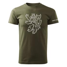 O&T krátké tričko český lev, olivová 160g/m2