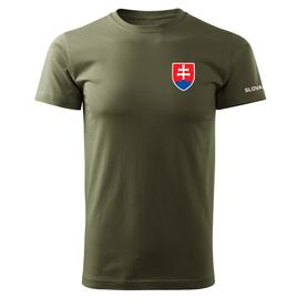O&T krátké tričko malý barevný slovenský znak, olivová 160g/m2