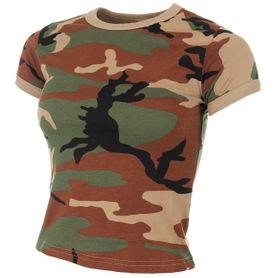 MFH dámské maskáčové tričko vzor woodland, 160g/m2