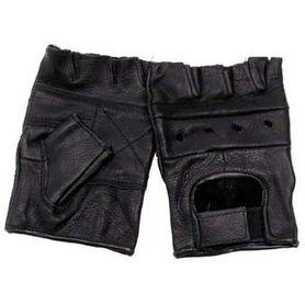 MFH Half kožené rukavice černé bez prstů a nýtů