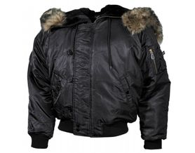 MFH N2B bomber bunda nylonová s kožešinou, černá