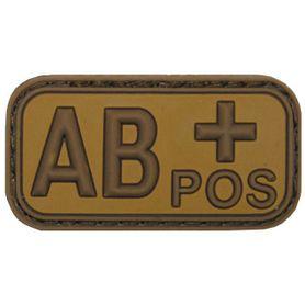 MFH nášivka krevní skupina 3D AB positivní khaki 5x2,5cm