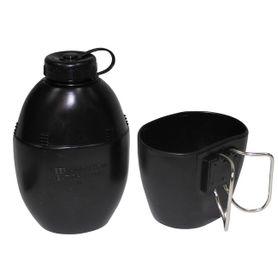 MFH poľná plastová láhev s miskou černá, 850 ml