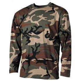 MFH tričko s dlouhým rukávem vzor woodland, 160g/m2