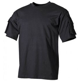 MFH US černé tričko s velcro kapsami na rukávech, 170g/m2