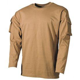 MFH US Coyote dlhé tričko s velcro kapsami na rukávech, 170g/m2