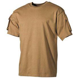 MFH US Coyote tričko s velcro kapsami na rukávech, 170g/m2