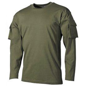 MFH US olivové dlhé tričko s velcro kapsami na rukávech, 170g/m2