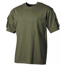 MFH US olivové tričko s velcro kapsami na rukávech, 170g/m2