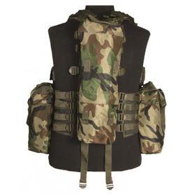Mil-Tec taktická vesta s 12 kapsami, woodland