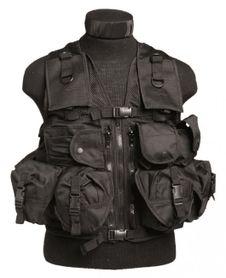 Mil-Tec taktická vesta s 9 kapsami, černá
