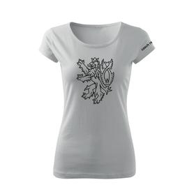 O&T dámské krátké tričko český lev, bílá 150g/m2