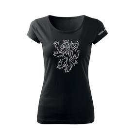 O&T dámské krátké tričko český lev, černá 150g/m2