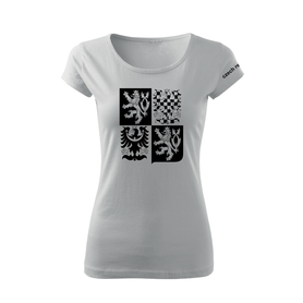 O&T dámské krátké tričko český velký znak, bílá 150g/m2
