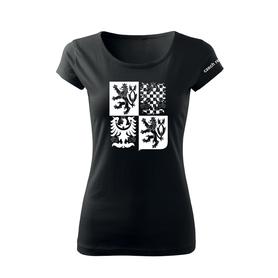 O&T dámské krátké tričko český velký znak, černá 150g/m2