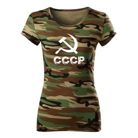 O&T dámské krátké tričko cccp, maskáčová 150g/m2