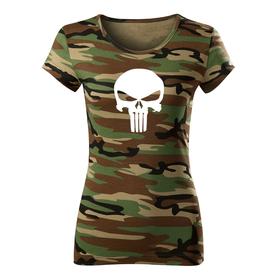 O&T dámské krátké tričko punisher, maskáčová 150g/m2