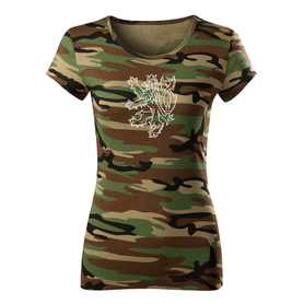 O&T dámské krátké tričko český lev, maskáčová 150g/m2