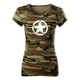 O&T dámské krátké tričko star, maskáčová 150g/m2