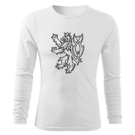 O&T Fit-T tričko s dlouhým rukávem český lev, bílá 160g/m2