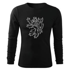 O&T Fit-T tričko s dlouhým rukávem český lev, černá 160g/m2