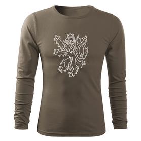 O&T Fit-T tričko s dlouhým rukávem český lev, olivová 160g/m2