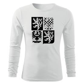 O&T Fit-T tričko s dlouhým rukávem český velký znak, bílá 160g/m2
