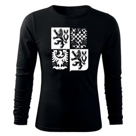 O&T Fit-T tričko s dlouhým rukávem český velký znak, černá 160g/m2
