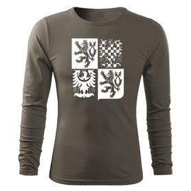 O&T Fit-T tričko s dlouhým rukávem český velký znak, olivová 160g/m2