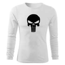 O&T Fit-T tričko s dlouhým rukávem punisher, bílá 160g / m2