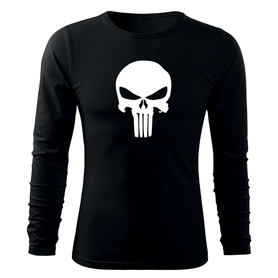 O&T Fit-T tričko s dlouhým rukávem punisher, černá 160g / m2