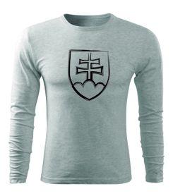 O&T Fit-T tričko s dlouhým rukávem slovenský znak, šedé, 160g / m2