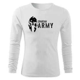 O&T Fit-T tričko s dlouhým rukávem spartan army, bílá 160g/m2