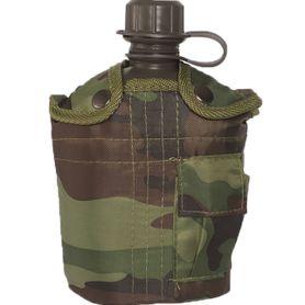 Mil-Tec US polní láhev vzor woodland 1l s ALU miskou