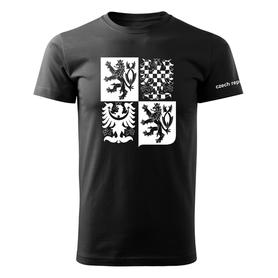 O&T krátké tričko český velký znak, černá 160g/m2