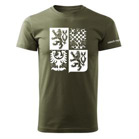 O&T krátké tričko český velký znak, olivová 160g/m2