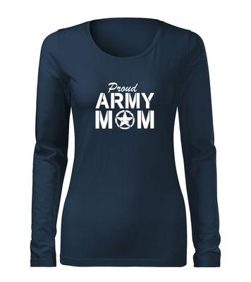 O&T Slim dámské tričko s dlouhým rukávem army mom, tmavě modrá160g / m2